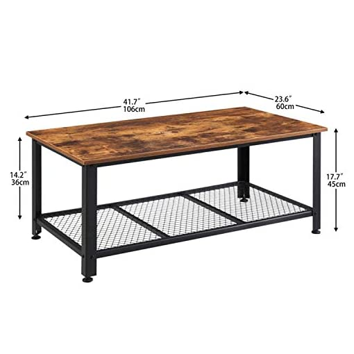 Farmhouse Coffee Tables VINEXT Industrial Coffee Table with Storage Shelf, Vintage Wooden Board with Stable Metal Frame, Wood Look Furniture… farmhouse coffee tables