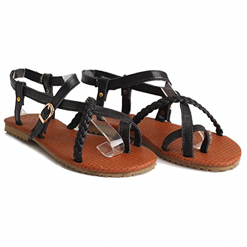 Carol Shoes Womens Buckle Casual Comfort Summer Fashion Flats Sandals Black NXb72j