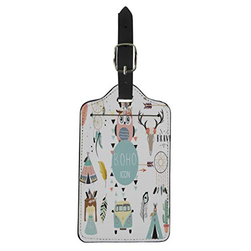 Pinbeam Luggage Tag Collection for Flyers Placards Wreath Feather Owl Tent Suitcase Baggage Label