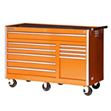 International VRB-5610OR 56-Inch 10 Drawer Orange Tool Cabinet with Heavy Duty Ball Bearing Slides