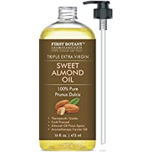 Sweet Almond Oil, Triple AAA+ Grade Quality, For Hair, For Skin and For Face, 100% Pure and Organic from Spain, Cold Pressed , 16 fl oz