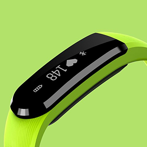 Green Beautyrain 1PC HR Smart Bracelet with Sleep Monitoring Sports Step Counter Calls Remind Black blueee Green