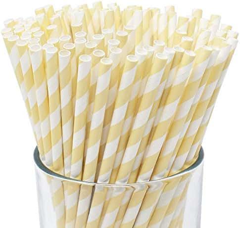 Just Artifacts 100pcs Premium Biodegradable Striped Paper Straws (Striped, Ivory)