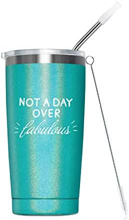 Birthday Gifts for Women - Vacuum Insulated Stainless Steel Tumbler Cup with Straw - Womens Gift Ideas for Sister, Mom, Grandma, BFF, Daughter, Coworker, Aunt, 20-Ounce Glitter Green