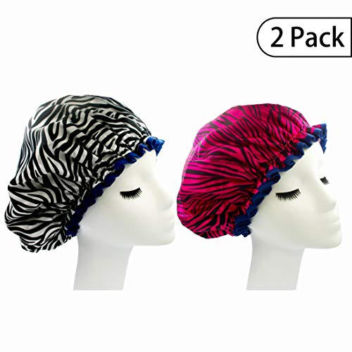 Bleu Bath (2 Pack) Sexy Lovely Fashion Style Hair Cap Extra Large Double Layer Lined Waterproof Durable Eco-Friendly Shower Cap with Tight Elastic-Fashionista Collection Bath Cap (Sexy Style)