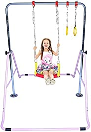 Athletic Bar Expandable Gymnastics Bar Horizontal Kip Bar 3 in 1 Set with Swing Seat, Trapeze Rings, Junior Gy