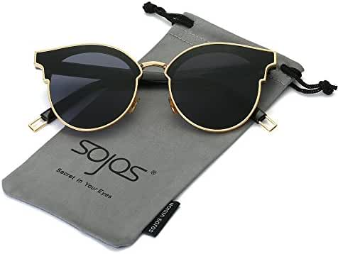SojoS Fashion Round Cateye Women Sunglasses Oversized Flat Mirrored Lens SJ1055