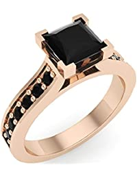 Princess Cut Black Diamond Engagement Ring 14K Gold 1.50 ct tw (AAA)