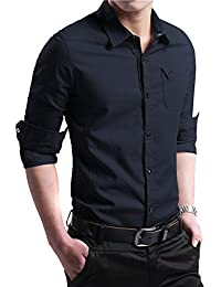 FRTCV Men's Button Down Shirt Causal Cotton Long Sleeve Dress Shirts