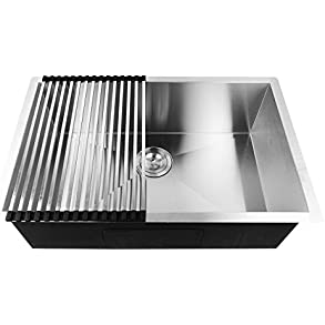 18 Gauge Single Bowl Kitchen Sink with Accessories - Stainless Steel 28' x 18' x 9'