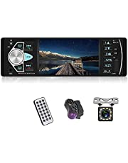 Single Din Car Stereo 4.1 '' HD Screen with Bluetooth 2.0 Handsfree Call Voice Navigation FM Radio Receiver Support USB/AUX in/TF Card/Steering Wheel Control/Remote Control+ Rear View Camera