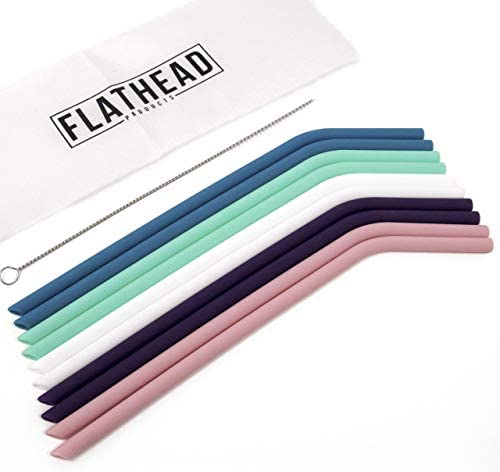 Flathead Bent Reusable Silicone Drinking Straws w/Cleaning Brush - Extra lengthy for 30oz and 20oz tumblers and BPA Free (Set of 10)