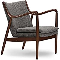 Wholesale Interiors Baxton Studio Shakespeare Mid-Century Modern Retro Fabric Upholstered Leisure Accent Chair in Walnut Wood Frame, Large, Grey