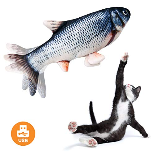 Beewarm Flippity Fish Cat Toy Flopping Fish Cat Toy Moving Fish Toy for Cats - Christmas Interactive Pets Chew Bite Supplies Catnip - Perfect for Biting Chewing and Kicking (Shark)