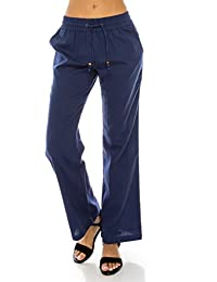 Women's Comfy Drawstring Linen Pants Long with Band Waist