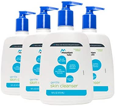 Mountain Falls Gentle Skin Cleanser for All Skin Types, Fragrance Free, Pump Bottle, 16 Fluid Ounce (Pack of 4)