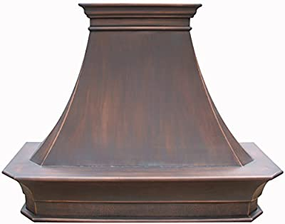 Custom Range Hood Made from 16 Gauge Solid Virgin Pure Copper Handcrafted by Sinda H21S Includes Powerrful Stainlss Steel Vent