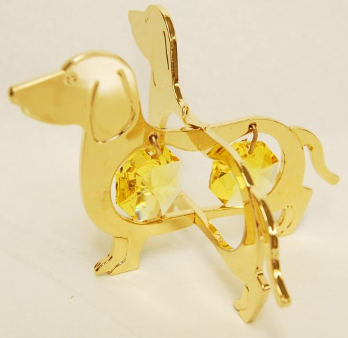 (24K Gold Plated Hanging Sun Catcher or Ornament..... Dachshund With Two Gold Color Swarovski Austrian)