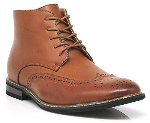 OTW03 Men's Chukka Ankle Dress Boots Wingtip For Winter Lace Up Oxfords Boots (12, Brown) (Man Boots For Sale)