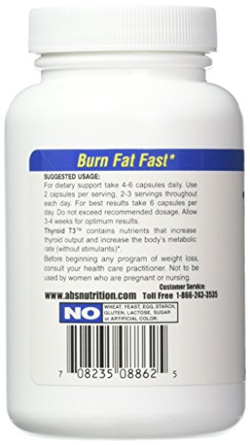 Absolute Nutrition Fat Burning Metabolism Boosting Supplement Thyroid T 3 60 C 708235088625 Ebay