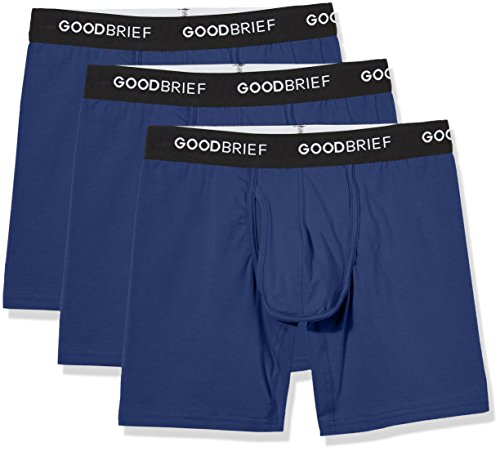 Good Brief Men's 3-Pack Cotton Stretch Classic Fit Boxer Briefs Large Navy Basic Waistband