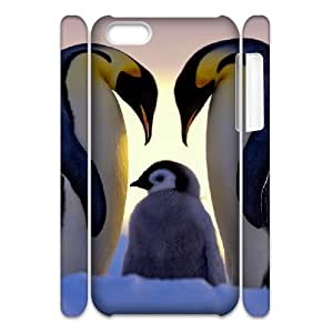 3D Case For iPhone 5C, Parents Love Penguin Family Case For iPhone 5C, White