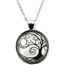 Tree of Life Black And White Silhouette Circle Pendant Necklace 18 Inch Chain, Gift for