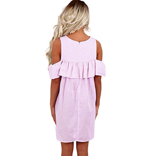 Highdas Cuello redondo de hombro hoja de loto rayas vestido de manga corta playa mini vestidos Azul