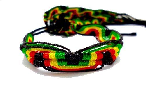 2 Pcs Rasta Friendship Bracelets New Band Tie-on Reggae Carnival Red Green