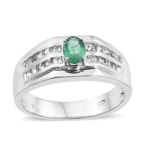 925 Sterling Silver Platinum Plated 1.6 Cttw Oval Premium Emerald, White Topaz Signet Mens Ring Size 13