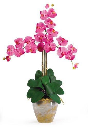 1017-DP Triple Phalaenopsis seda flor de la orquídea Arreglo, rosa oscuro
