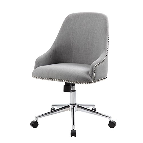 Boss Office Products B516C-GY Desk-Chairs Velvet Fabric Upholstered Swivel Chair