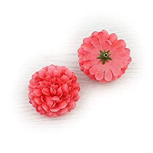 Flower Head in Bulk Wholesale for Crafts Silk Carnation Artificial Pompom Mini Hydrangea Party Home Wedding Decoration DIY Fake Wreaths Festival Decor 30pcs 5cm (Watermelon red)