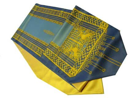 ArtisanStreet's Blue Lion of Judah Table Runner. Features Gold Design of Lions and the Tree of Life Menorah. Matching Lining of Gold