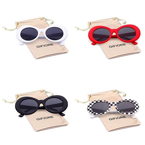 a58e1a5a228 Bold Retro Oval Mod Thick Frame Sunglasses Clout Goggles with Round Lens ( White Checkered