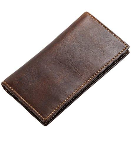 Mens RFID Blocking Genuine Leather Long Slim Bifold Wallet w Keychain -b1w007ch