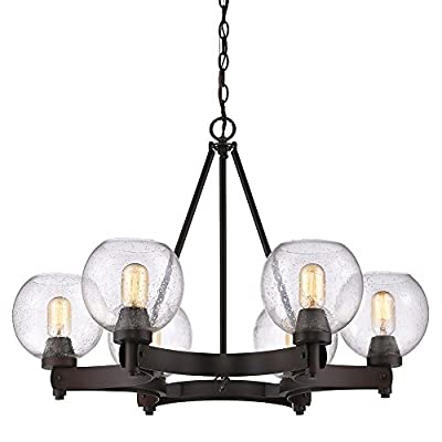 Golden Lighting 4855-6 RBZ-SD Galveston 6-Light Chandelier in Rubbed Bronze with Seeded Glass