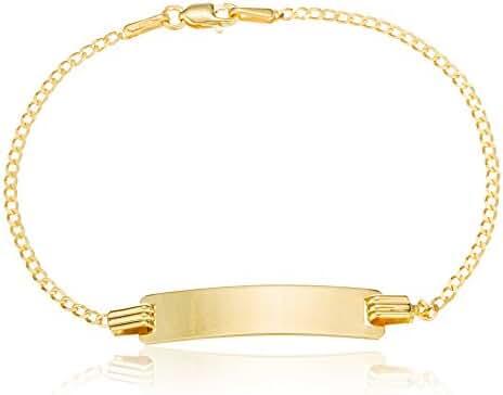 10k Gold 5 Inch Baby Id Thin Figaro Link Chain Bracelet