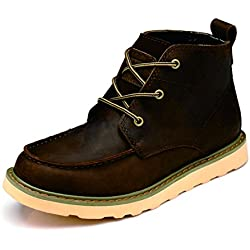 Z.Suo Men's Martin Boots, Work Boots, Outdoor, In-Tube Male Boots, Leather Men's Boots, Men's First Layer of Leather Tooling Boots