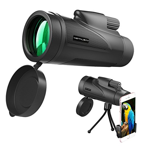 METALBAY High Power Monocular Telescope 12×50 Waterproof Monocular Scope with Tripod Smartphone Holder, HD Wide Angle BK7 Prism Scope, Low Light Night Vision for Bird Watching Hunting Hiking - Semi Full Lens