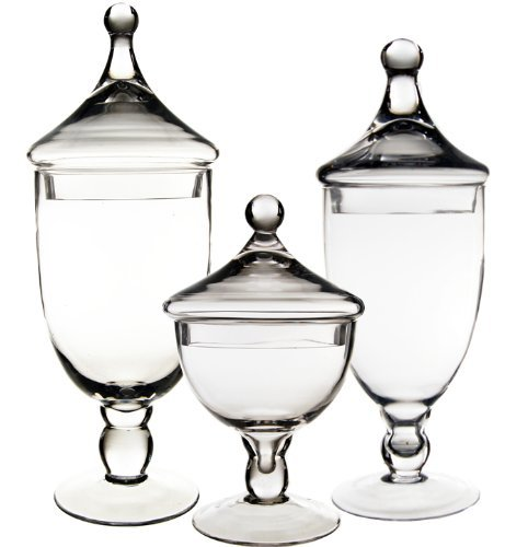 CYS® Apothecary Jar Candy Buffet with Lid, Set of 3 (Apothecary Candy Jars)