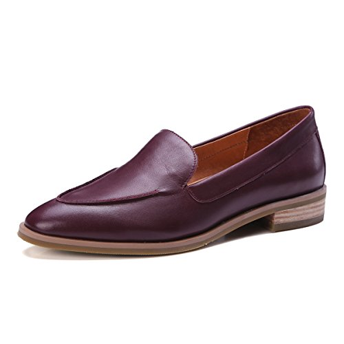 ONEENO Womens Loafers Comfort Casual Slip on Low Heel Cowhide Leather Flat Shoes Wine Red Size 7 US -