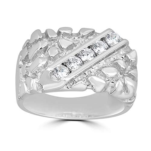 Harlembling Solid 925 Sterling Silver Men's Silver Nugget Ring - Iced Out - Pinky or Ring Finger - Sizes 7-13 (8)