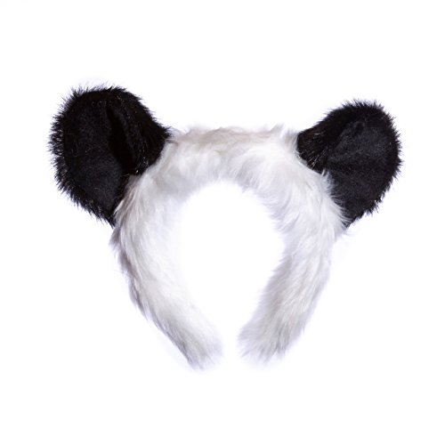 Wildlife Tree Plush Panda Bear Ears Headband Accessory for Panda Costume, Cosplay, Pretend Animal Play or Safari Party Costumes