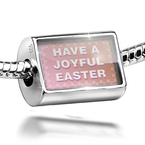 Sterling Silver Bead Have a Joyful Easter Bunny Border Charm Fits All European (Easter Bunny Borders)