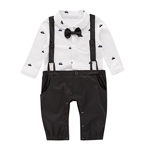 Baby Romper Jumpsuit for 0-24 months Gentleman Bowtie Pocket Bodysuit Onsies One Piece Outfits Newborn ()