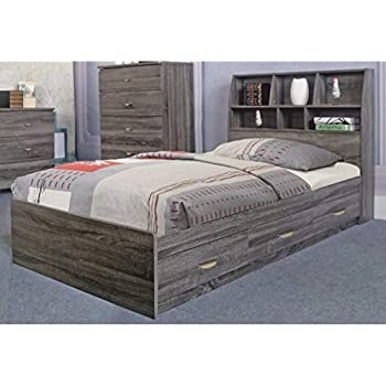 Benzara Contemporary Style Grey Finish Twin Size 3 Drawers on Metal Glides Chest Bed
