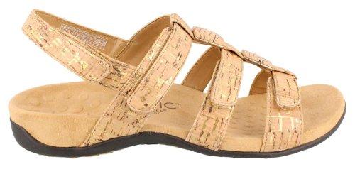 Vionic Amber - Damen Slide Sandal - Orthaheel Gold Cork - 7 Medium