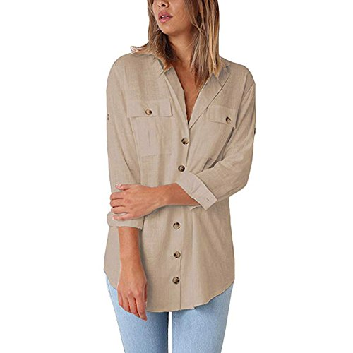 ▶HebeTop◄ Women Casual Cuffed Sleeve Button Down Shirts Blouse Loose Tops Two Front Pockets Khaki