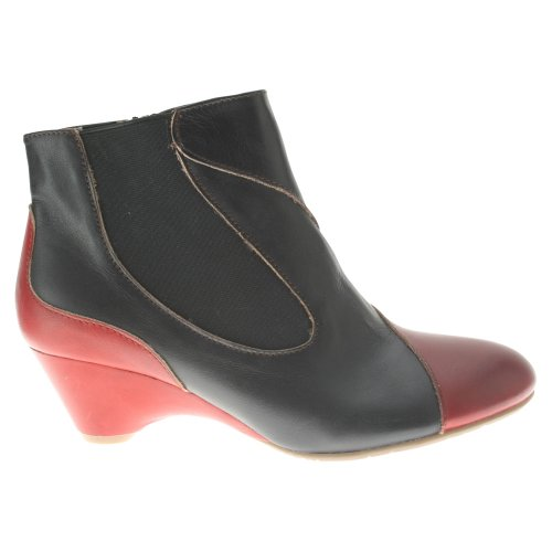 Black Step Spring Red Boots Women's Bourgeois Leather Multi wpqf6